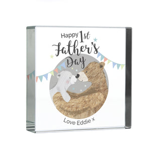 Personalised 1st Father's Day 'Daddy Bear' Large Crystal Token