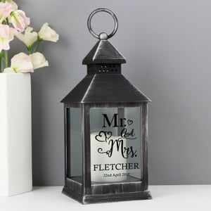 Personalised Mr and Mrs Rustic Black Lantern