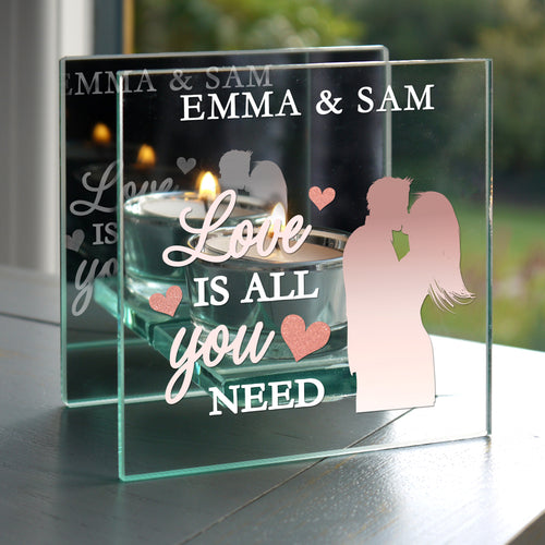 Personalised 'Love is All You Need' Mirrored Glass Tea Light Candle Holder