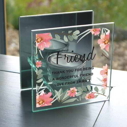 Personalised Floral Sentimental Mirrored Glass Tea Light Candle Holder - Any Occasion