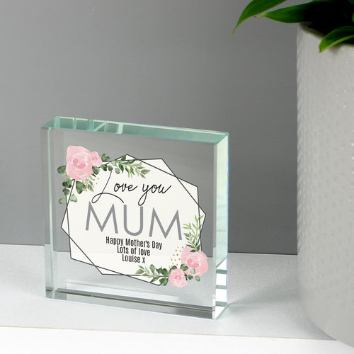 Personalised 'Love You' Abstract Rose Large Crystal Token