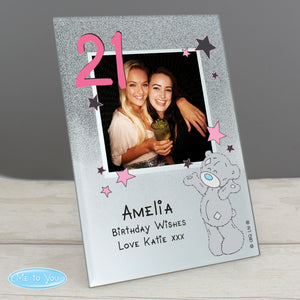 Personalised 'Me To You' Sparkle & Shine 4x4 Glitter Glass Photo Frame