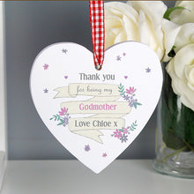 Personalised Garden Bloom Wooden Heart Decoration - Perfect for Teachers, Mothers, Wedding Favours and More