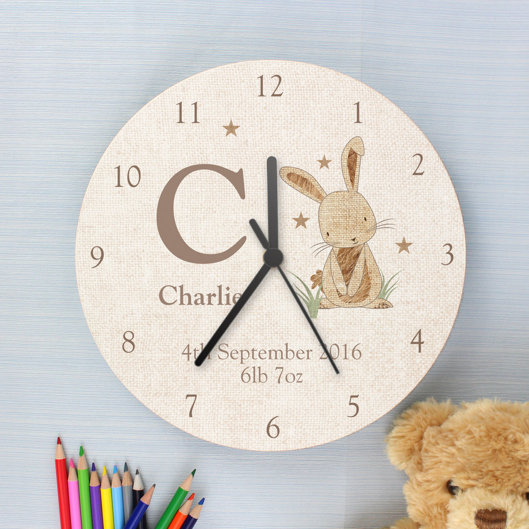 Personalised Hessian Rabbit Shabby Chic Wooden Clock