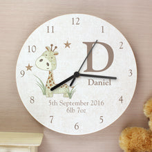 Personalised Hessian Giraffe Shabby Chic Wooden Clock
