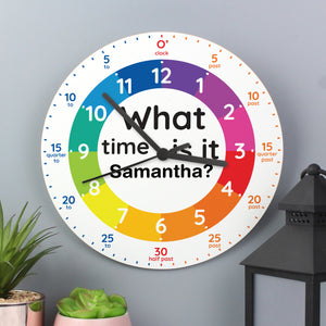 Personalised 'What time is it?' Wooden Clock - Help your child learn the time!