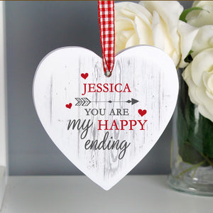 Personalised 'My Happy Ending' Wooden Heart Decoration