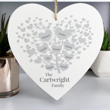 Personalised Family Tree Large Wooden Heart (22cm) - Add up to NINE (9) Names!