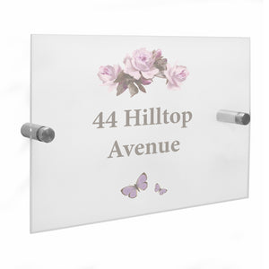 Personalised Vintage Rose Acrylic House Sign