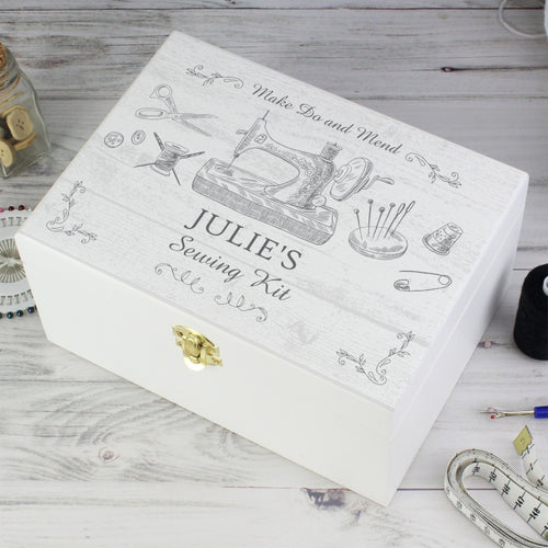 Personalised Sewing Kit White Wooden Keepsake Box - Great gift for Mother's Day