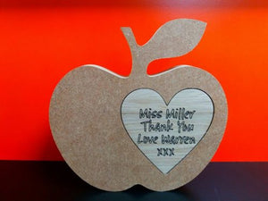 Personalised MDF Free Standing Apple With Oak Heart Insert