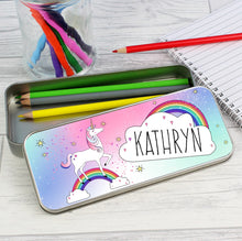 Personalised Unicorn Pencil Tin with 12 Colouring Pencils