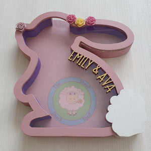 Customisable Wooden Baby Bunny (Chocolate) Holder - Can be Personalised