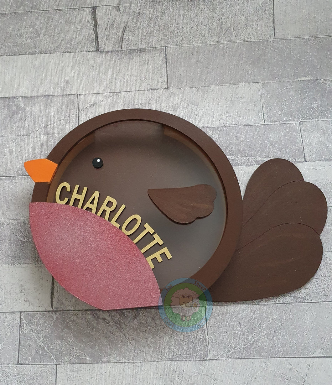 Customisable Wooden Christmas Robin (Chocolate) Holder - can be Personalised