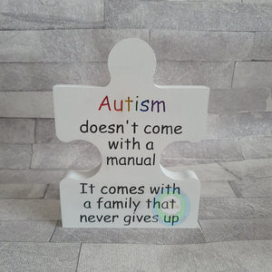 Customisable Wooden 'Autism' Freestanding Jigsaw Shaped Piece (18mm)