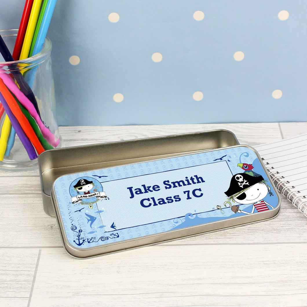 Personalised Pirate Pencil Tin with 12 Colouring Pencils