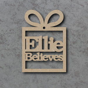 Personalised and Customisable Wooden 'Believes' Christmas Present Bauble
