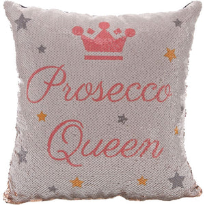 'Prosecco Queen' Sequined Cushion