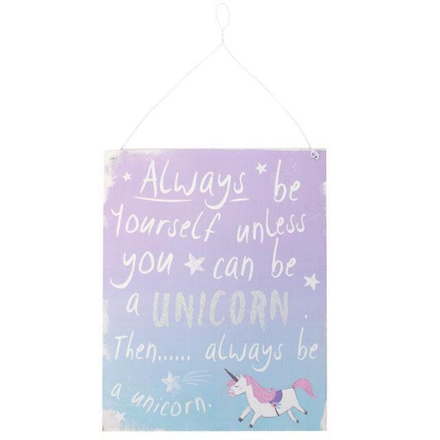 Purple and Blue Ombre Effect Unicorn Metal Sign