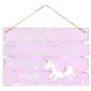 Purple/Pink Unicorn Wood Plaque