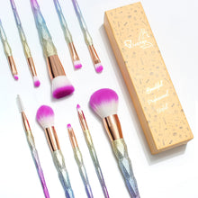 10 Piece Unicorn Rainbow Makeup Brush Set (Qivange)