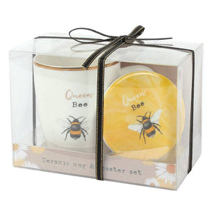 Queen Bee Mug and Coaster Set