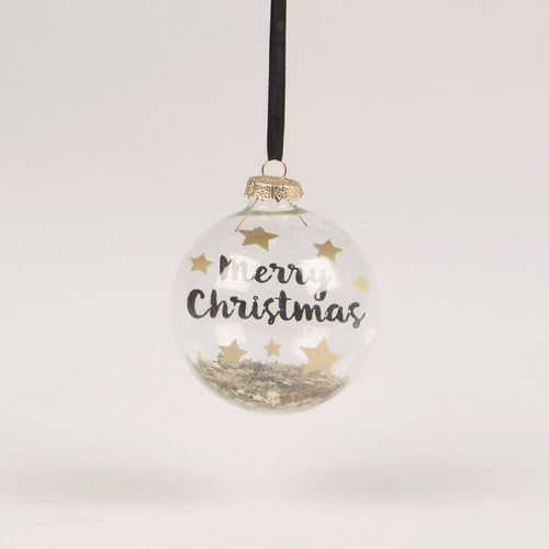 Merry Christmas Glass Bauble with Star Sequins