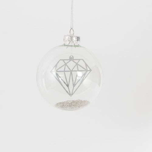Shine Bright Floating Diamond Glass Christmas Bauble