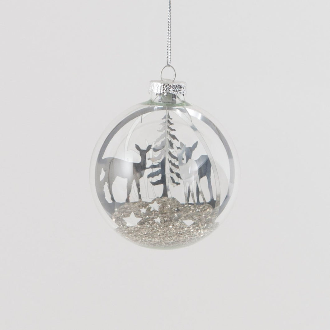 Silver Woodland Deer Scene Glass Christmas Bauble