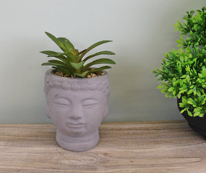 Small Faux Succulent in Buddha Head Pot