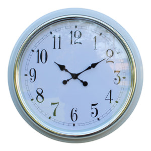 Silver Rimmed Wall Clock (56cm) - White or Green Frame
