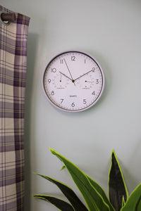 Wall Clock (30cm) with Thermometer/Hygrometer - Green or Grey Design