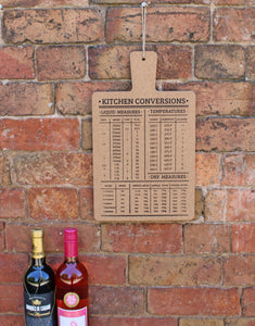 Hanging Cork Board with Kitchen Conversions Chart