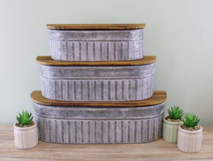 Set of 3 Potting Shed Storage Pots with Shelves