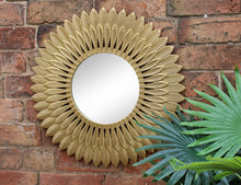 Large Gold Feather Design Wall Mirror
