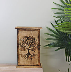 Hand Carved Key Box with Tree of Life Design