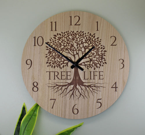 Wooden Tree of Life Wall Clock - Small (30cm) or Large (50cm)