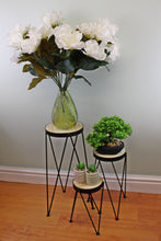 Set of 3 Black Metal and Wood Effect Tall Table/Plant Stands