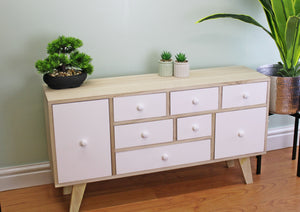 9 Drawer White & Wooden Storage Unit / Cabinet