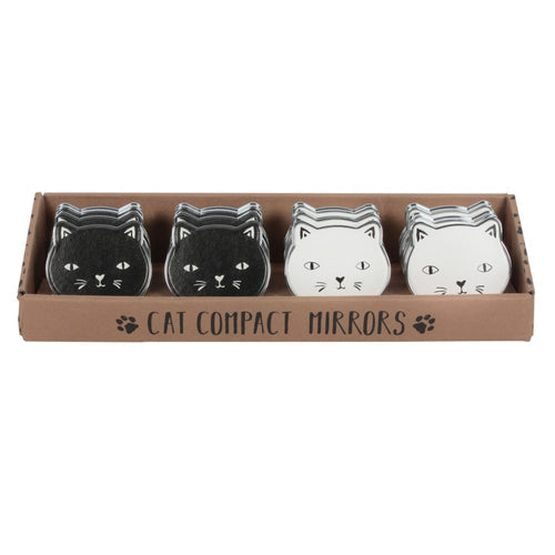 Cat Compact Mirror - Available in Black or White