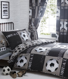 Black and White Football Pleat Curtains