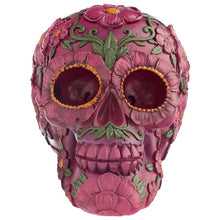 Day of the Dead (Halloween) Skull Head Ornament with Pink Floral Motif