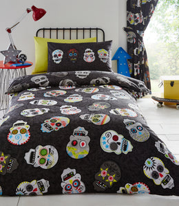 Sugar Skulls (Day of the Dead) Pleat Curtains