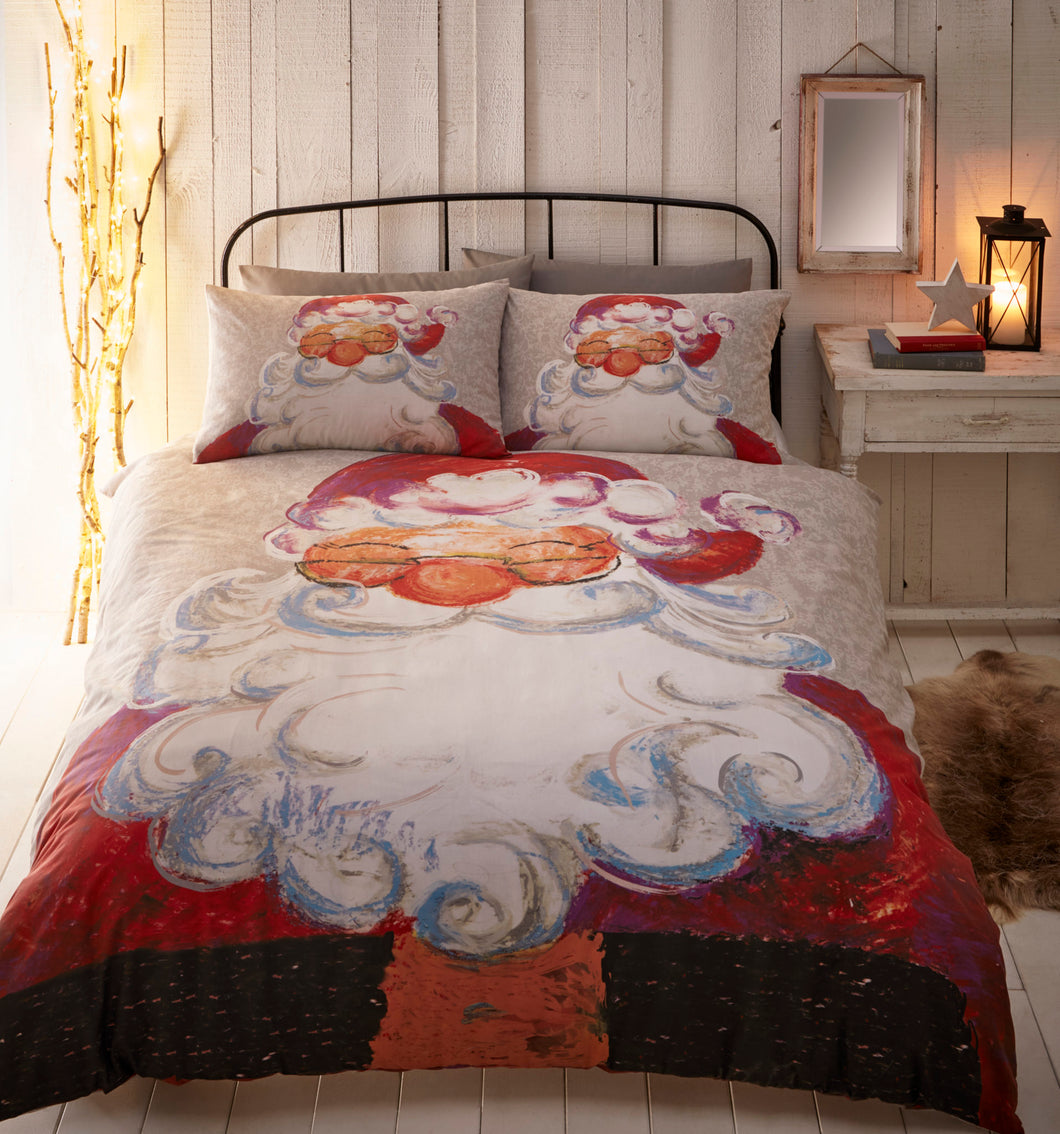 Traditional Santa Claus Christmas Duvet Cover Set