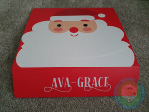Personalised Cardboard Santa Christmas Eve or Gift Box with Ribbon
