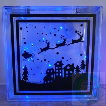 Santa and the Night Sky Christmas (LED) Glass Block Decoration
