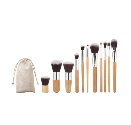 11 Piece Bamboo Handle Makeup Brush Set