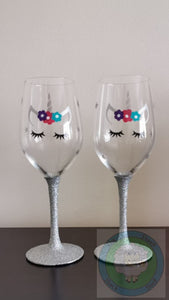 Glitter Stem Unicorn Wine Glasses (Customisable) - Can also be Personalised