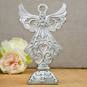 Silver Poly Resin Angel Ornament