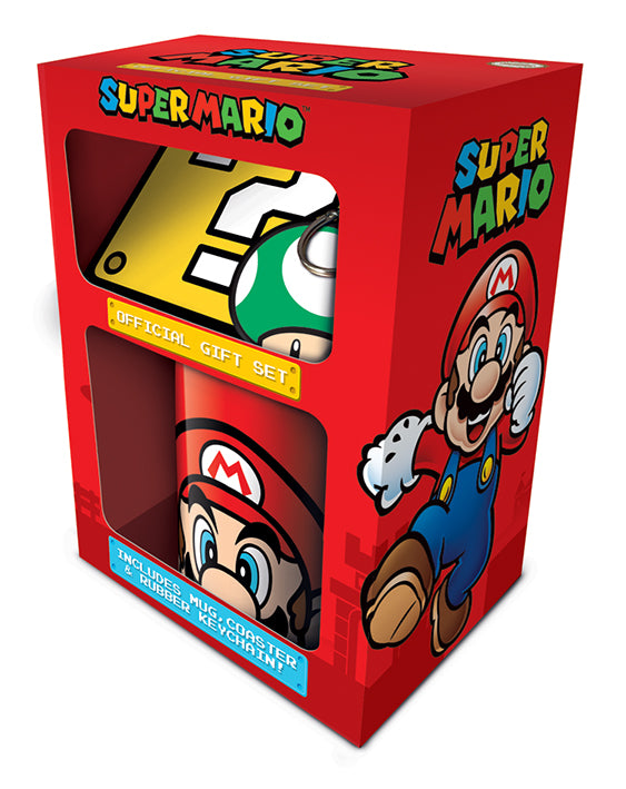 Super Mario Mug, Coaster and Keyring Gift Set